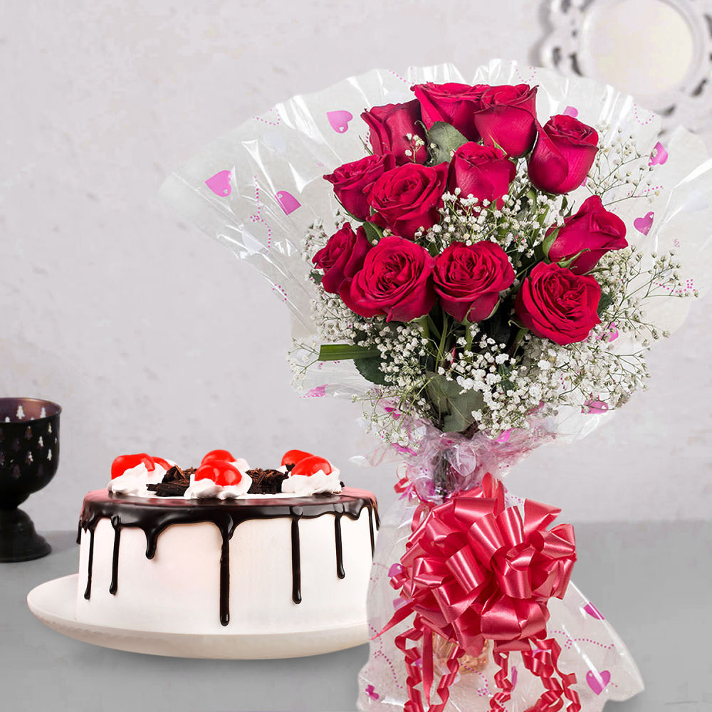Cake with Flower Combo Gift