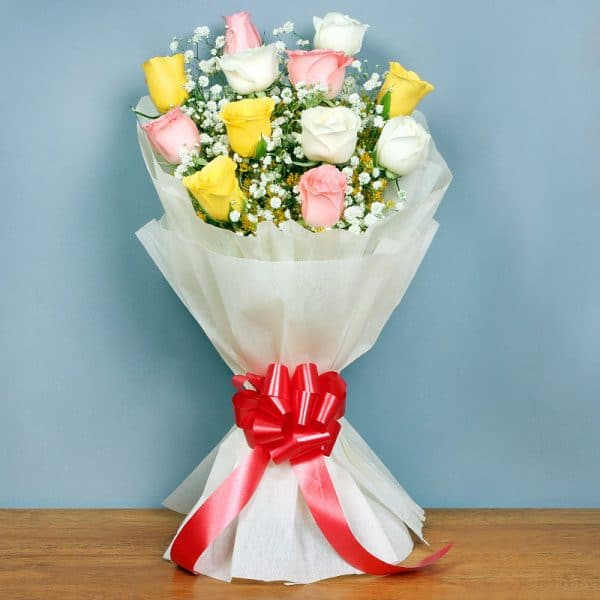 White Pink Yellow Rose Bouquet